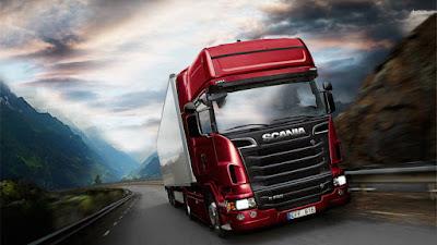Caminhão Scania vermelho