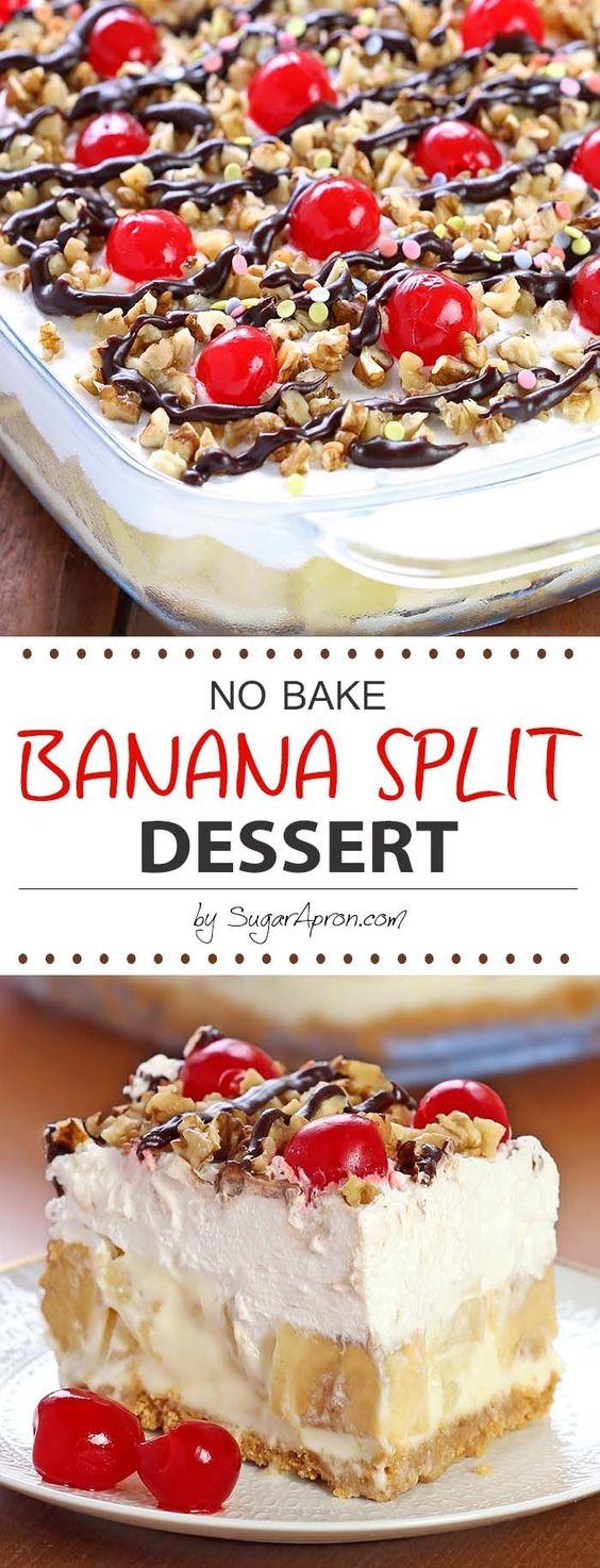No Bake Banana Split Dessert #nobake #banana #split #dessert #dessertrecipes #easydessertrecipes #cake #cakerecipes