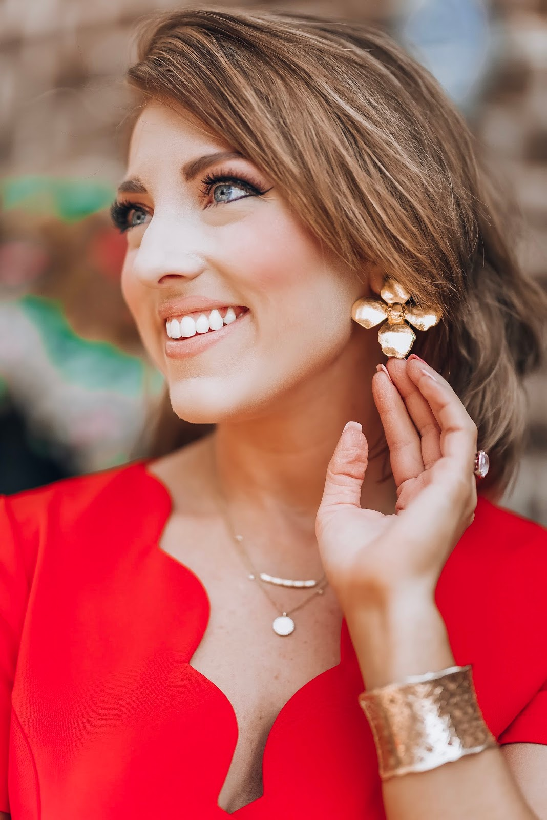 Under $60 Scallop Red Dress in Charleston + Lisi Lerch Blossom Earrings - Something Delightful Blog #springstyle