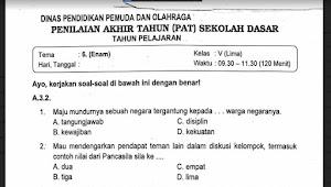 Soal Ulangan Kelas 5 Tema 6 Kurikulum 2013