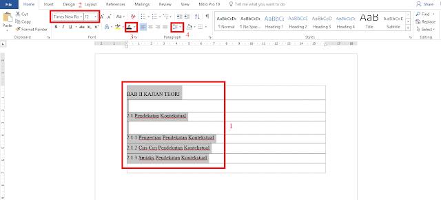 Membuat daftar isi otomatis di word