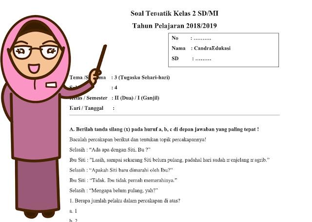 Soal Tematik Kelas 2 Sd Mi Tema 3 Subtema 4 Kurikulum 2013