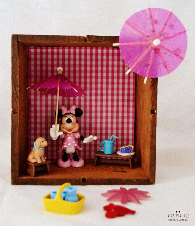 diorama, diy, tutorial, mundo, Minie Mouse, handmade