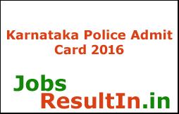 Karnataka Police Hall Ticket 2016