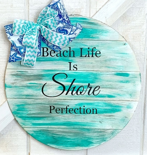 Round Beach Quote Sign