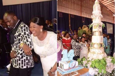 Apostle Johnson Suleman celebrates church 14th Anniversary with big very cake (Photos)