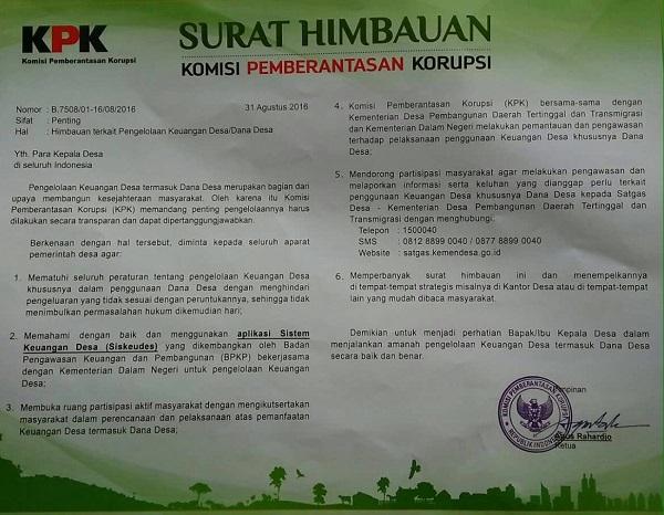 Surat Himbauan Komisi Pemberantasan Korupsi