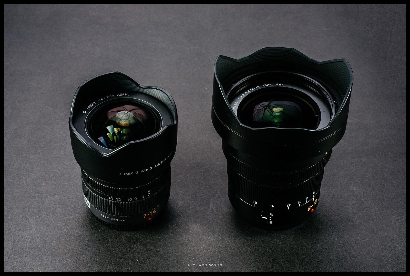Сравнение размеров Lumix 7-14mm f/4 и  Leica DG Vario-Elmarit 8-18mm f/2.8-4.0 Asph