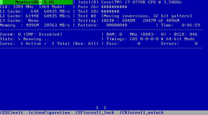 Memtest86+ 5.01 - программа для тестирования оперативной памяти.