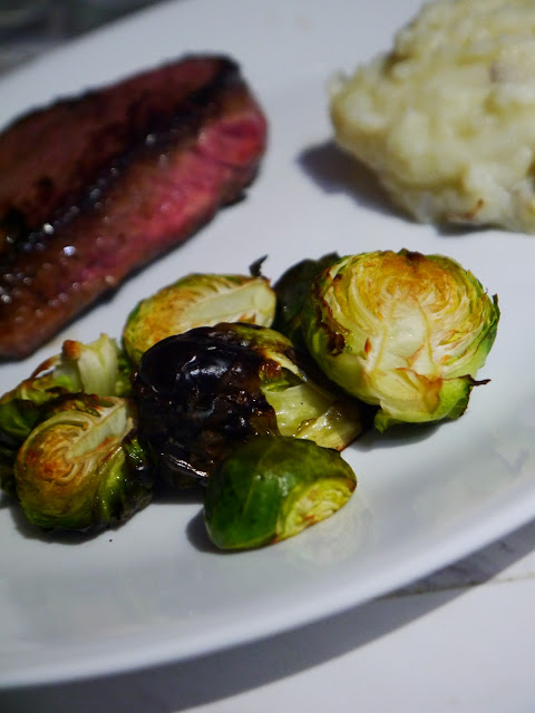 Sirloin Steak with balsamic Brussels sprout recipe