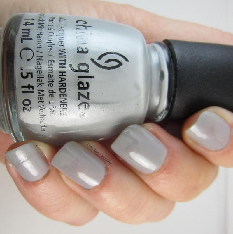 Grey nail polishwith shimmer