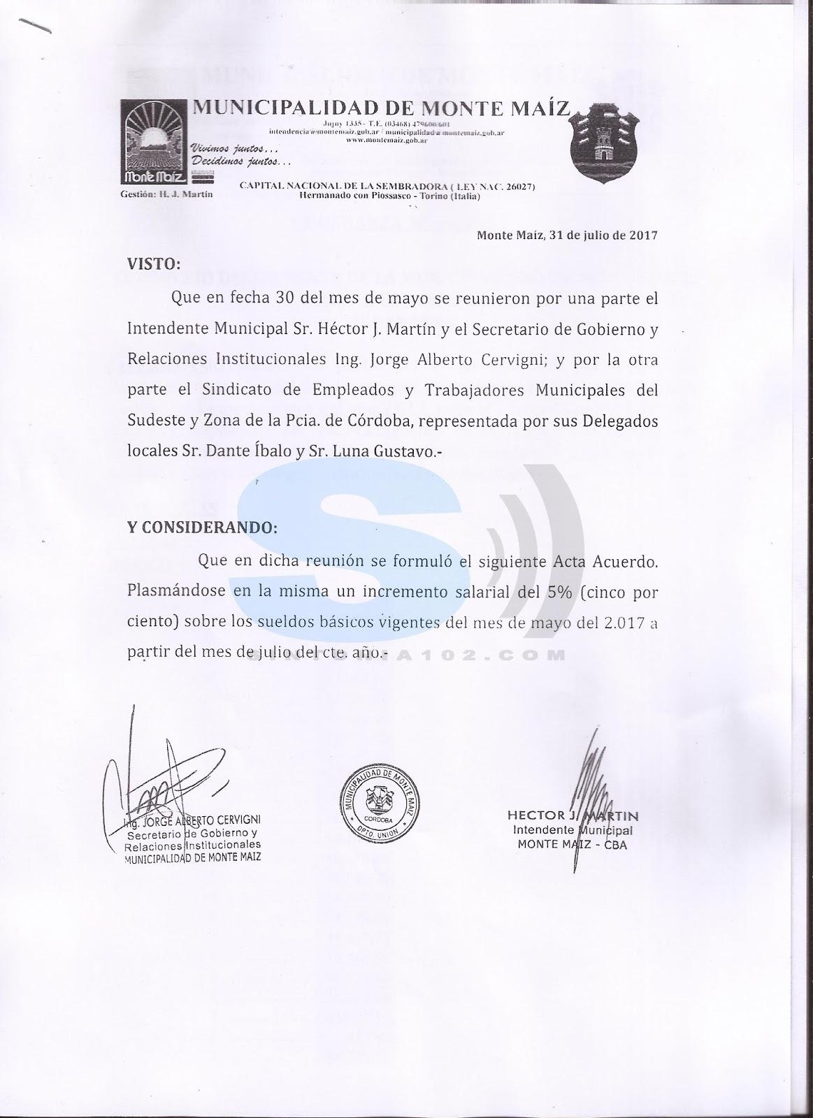de la provincia de c rdoba representado por los delegados por los se ores dante ibalo y gustavo luna se acord el aumento para el mes de julio 2017