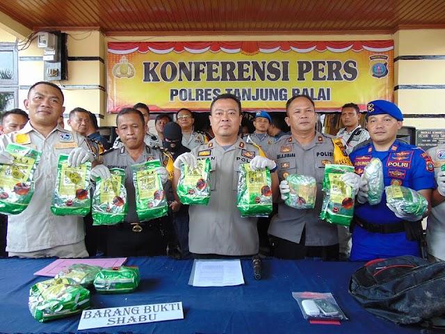 Polres Tanjung Balai Gelar Konferensi Pers Terkait Pengungkapan Kasus Sabu 15 Kg