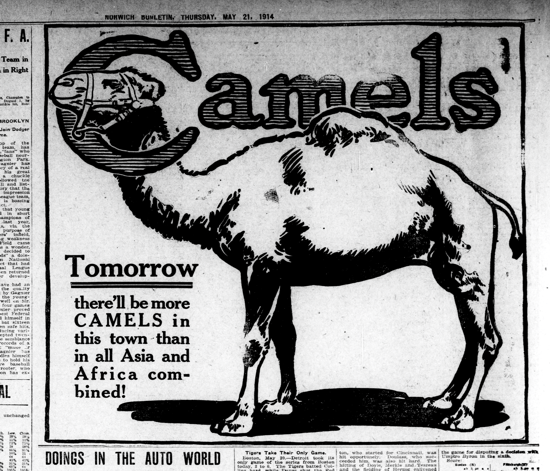 Camel advertising May 21, 1914