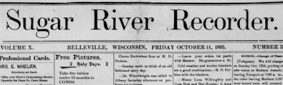 Clipping from the Sugar River Recorder newspaper October 11, 1895
