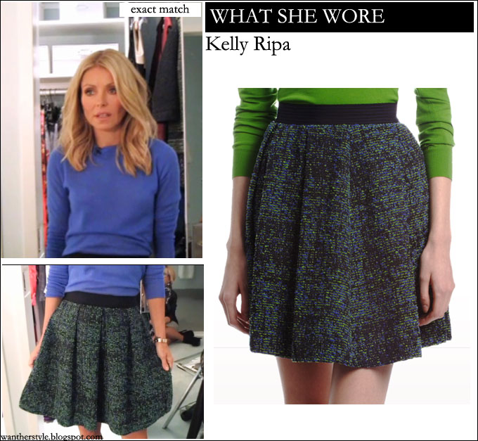 What She Wore Kelly Ripa In Tweed Pleated Mini Skirt With