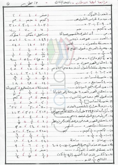 مراجعة ليلة الامتحان رياضيات للصف الثالث الابتدائى الترم الثانى 2017