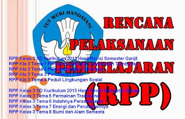 RPP Kurikulum 2013 Kelas 3 SD Hasil Revisi Tema 1 dan 2 Lengkap