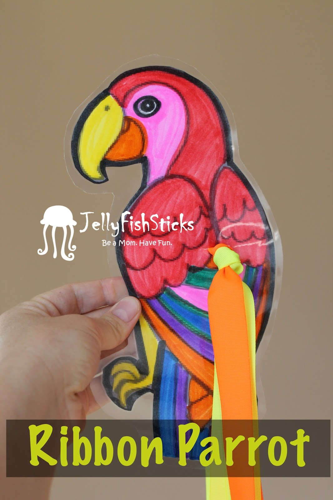 Easy Ribbon Parrot Craft