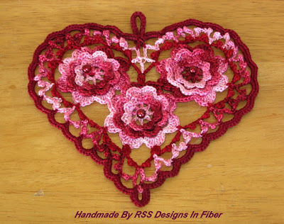 Garnet Red Irish Crochet Heart with Beaded 3D Roses - Handmade By Ruth Sandra Sperling of RSS Designs In Fiber