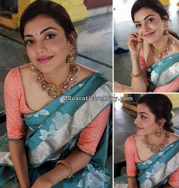 Kajal Agarwal Temple Jewellery