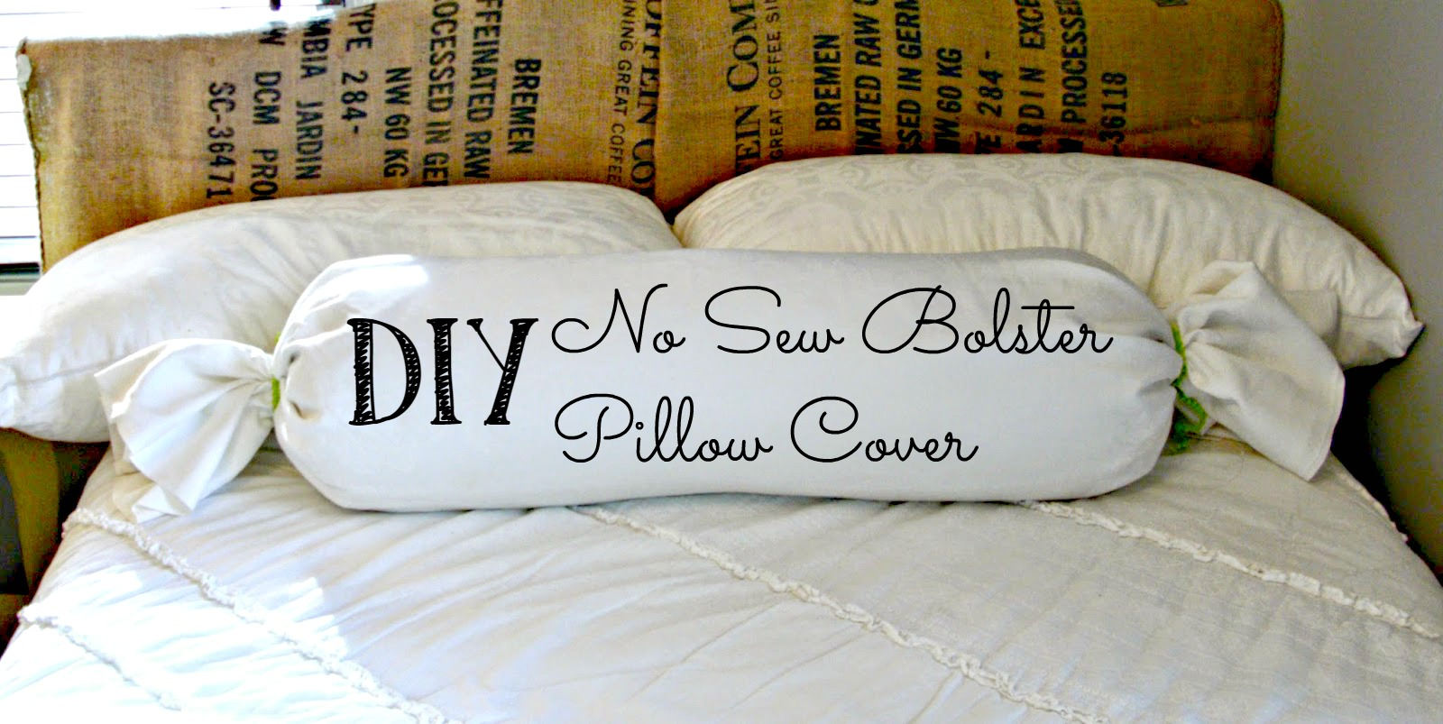 Diy quick easy no sew bolster pillow cover little Sew bolster pillow cover
