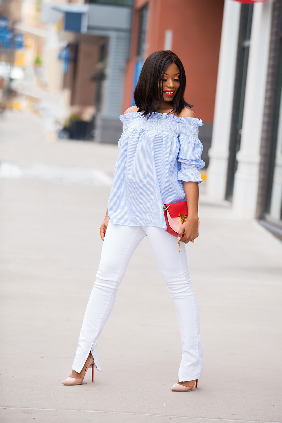 034856115a88 Easter Weekend  Off Shoulder and White Denim