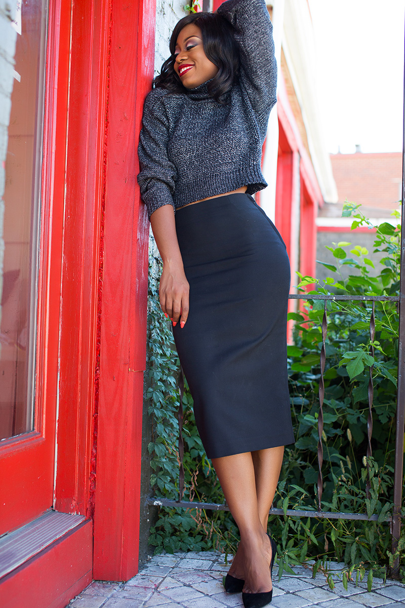 What to wear to work, pencil skirt  and cable knit sweater