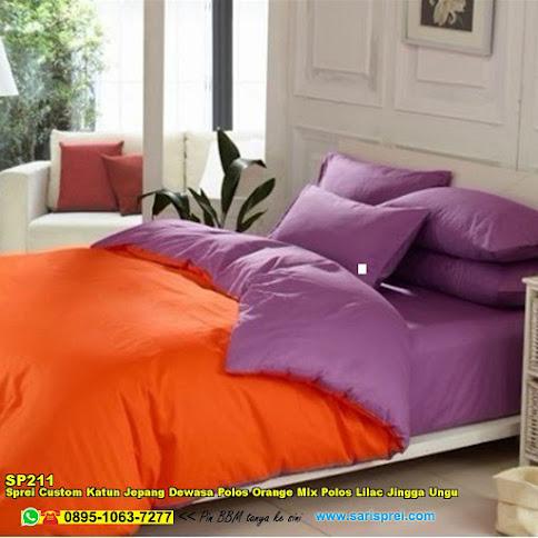 Sprei Custom Katun Jepang Dewasa Polos Orange Mix Polos Lilac Jingga Ungu