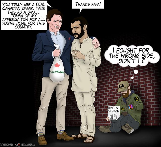 Justin Trudeau with Omar Khadr cartoon