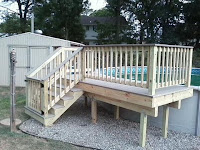 pressure treated wood pool deck and gate ideas