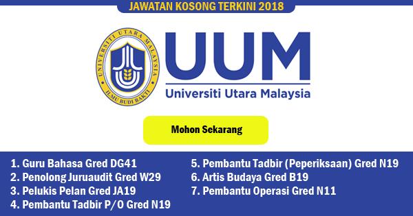 jawatan kosong 2018 universiti utara malaysia