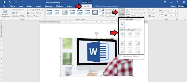 mengatur posisi gambar berdasakan dokumen