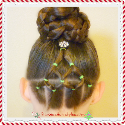 Elastic Christmas Tree Hairstyle and Bun Video Tutorial