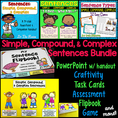 Simple, Compound, and Complex Sentences Activities- a PowerPoint, task cards, a game, a craftivity, and more!