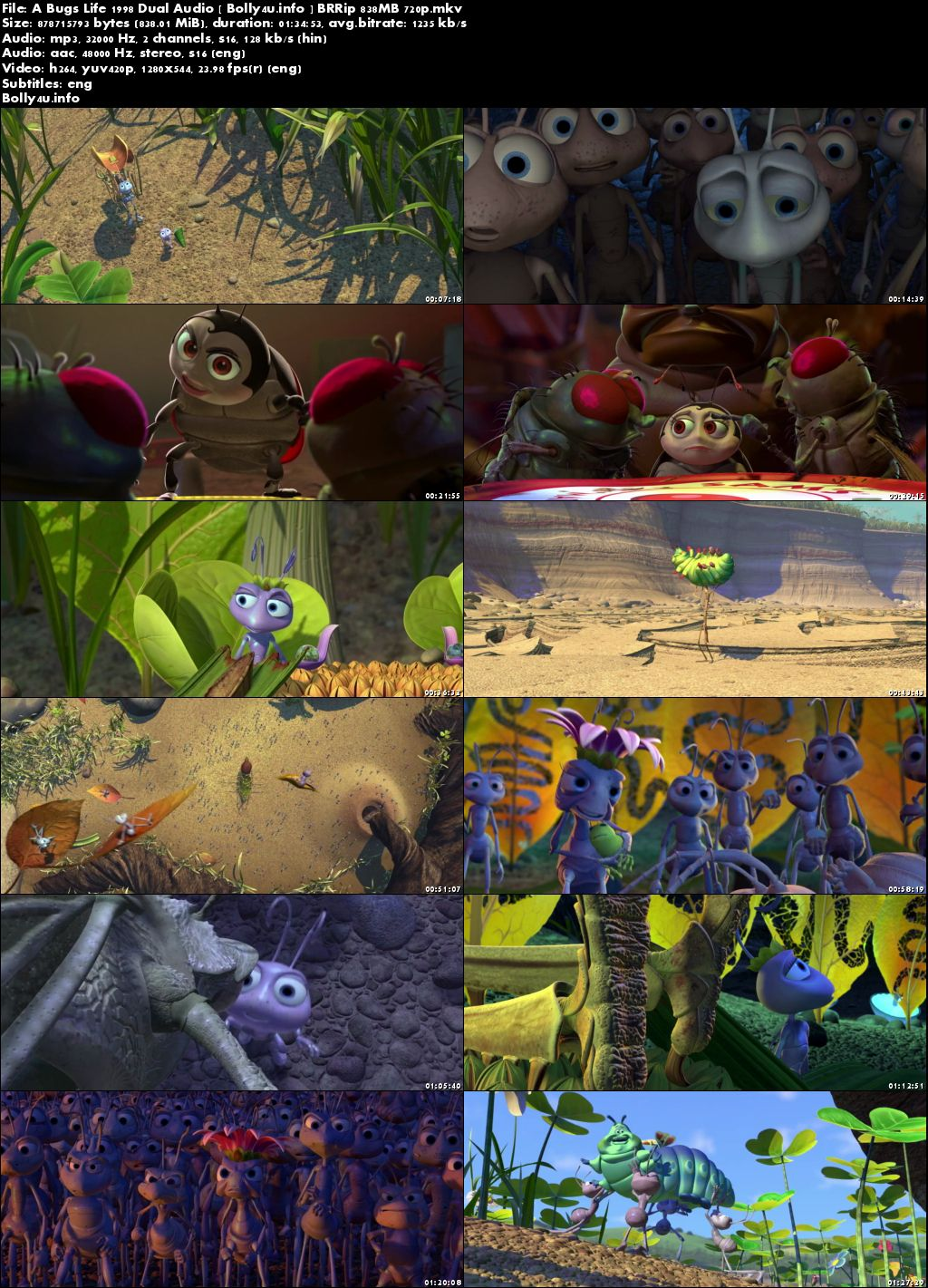 A Bugs Life 1998 BRRip 300MB Hindi Dual Audio 480p Download