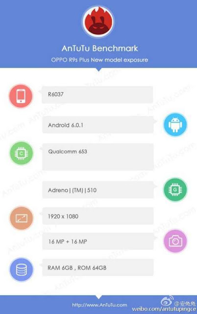 Oppo R9s Plus muncul di AnTuTu, dibekali chip terbaru Qualcomm Snapdragon 653