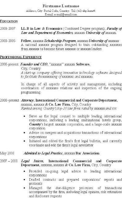 sample resume email for law student
