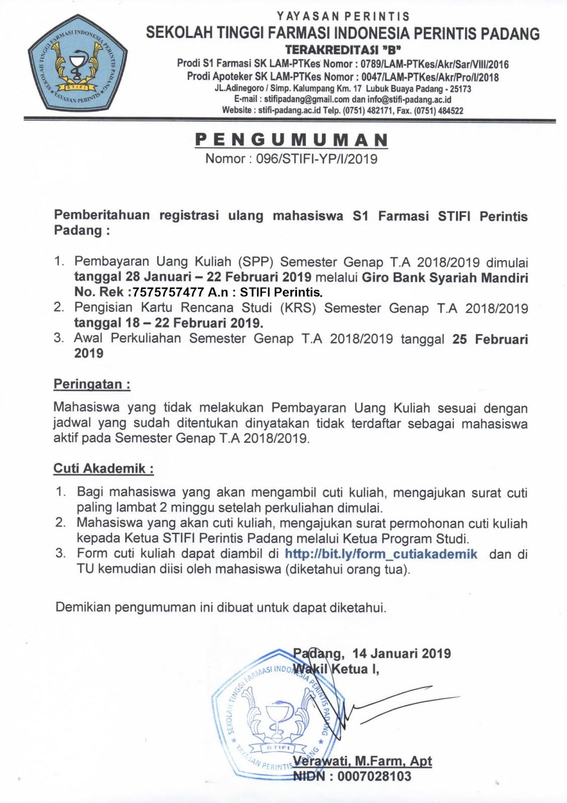 PENGUMUMAN REGISTRASI ULANG SMT GENAP T.A 2018-2019