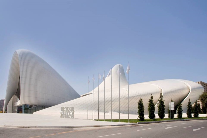 Heydar Aliyev Cultural Center by Zaha Hadid Architects from the street