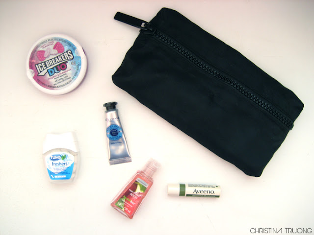 What's In My Bag Make Up Pouch Bath & Body Works Fresh Market Apple Aveeno TUMS ice breakers holt renfrew L'Occitane