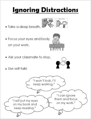 Poster listing ideas of how students can better ignore distractions.