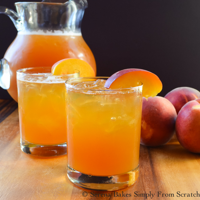 Peach Whiskey Iced Tea serenabakessimplyfromscratch.com