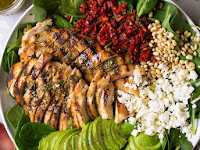 Grilled Chicken Sun Dried Tomato and Avocado Spinach Salad