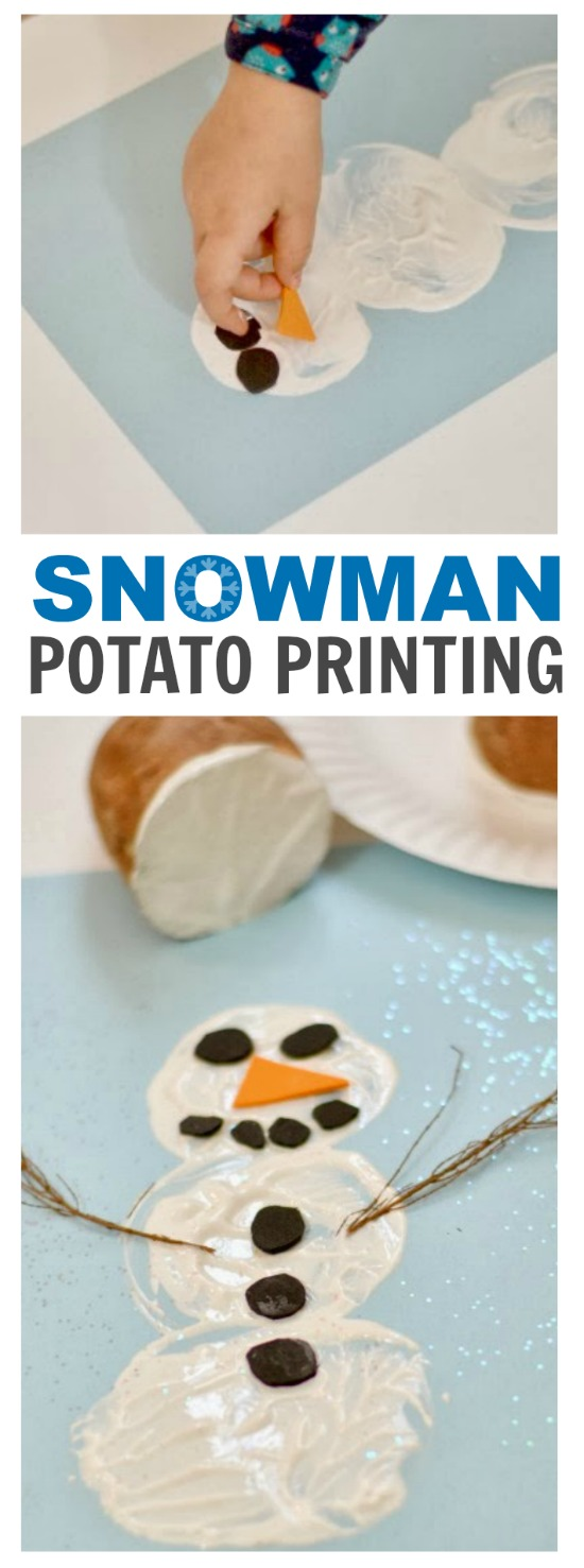 WINTER CRAFT FOR KIDS - snowman potato printing