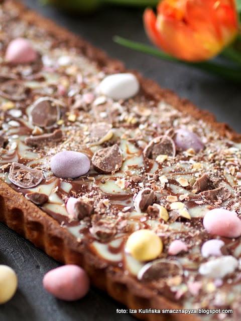 mazurek czekoladowy , tarta z czekoladą , tarta czekoladowa , ganache , czekolada , ciasto , kruche ciasto migdałowe , kruchy spód , wielkanoc , wielkanocne przysmaki , słodkości , moje wypieki , ciasta domowe , mazurki