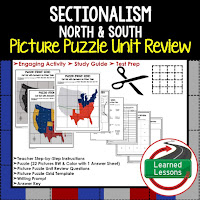Sectionalism Picture Puzzle,  TEST PREP, UNIT REVIEWS, TEST REVIEWS, and STUDY GUIDES