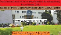 National Institute of Rural Development and Panchayati Raj –Upper Division Clerk & LDC/Typist