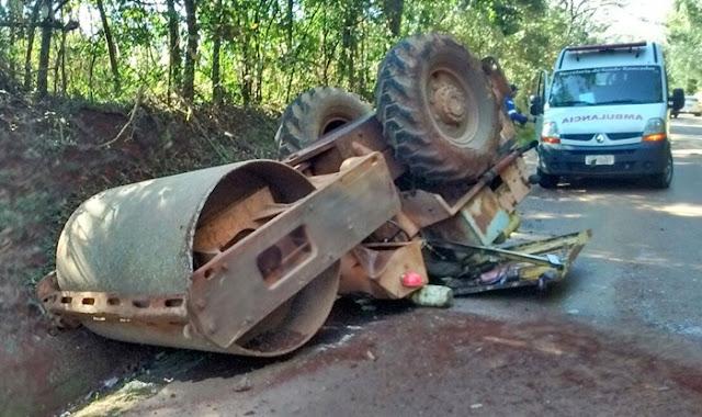 Roncador: Acidente com rolo compactador quase causa tragédia