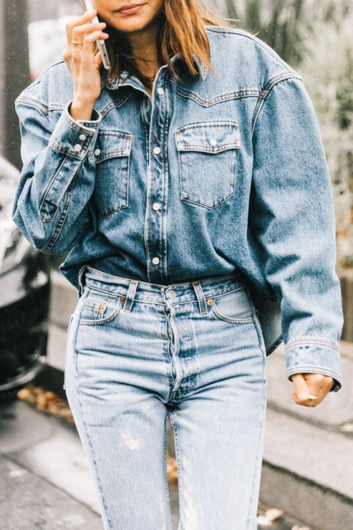 double denim outfit / oversized shirt and jeans